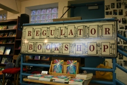 Reading and signing at The Regulator Bookshop.