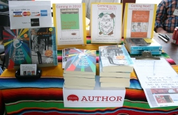 Table all ready for the Read Local Book Festival.